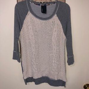 Dolan T Shirt XS anthropologie Gray and crochet